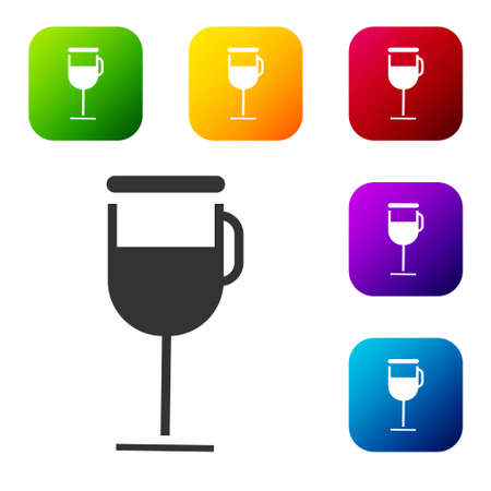 Black Irish coffee icon isolated on white background. Set icons in color square buttons. Vector Illustration