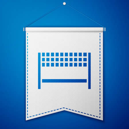 Blue Ribbon in finishing line icon isolated on blue background. Symbol of finish line. Sport symbol or business concept. White pennant template. Vector Illustration 일러스트