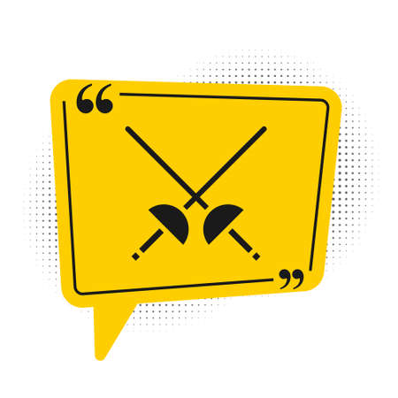 Black Fencing icon isolated on white background. Sport equipment. Yellow speech bubble symbol. Vector Illustration