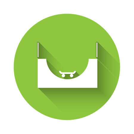 White Skate park icon isolated with long shadow. Set of ramp, roller, stairs for a skatepark. Extreme sport. Green circle button. Vector Illustration