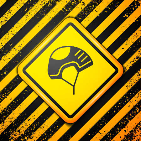 Black Helmet icon isolated on yellow background. Extreme sport. Sport equipment. Warning sign. Vector Illustration