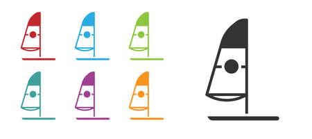 Black Windsurfing icon isolated on white background. Set icons colorful. Vector Illustration