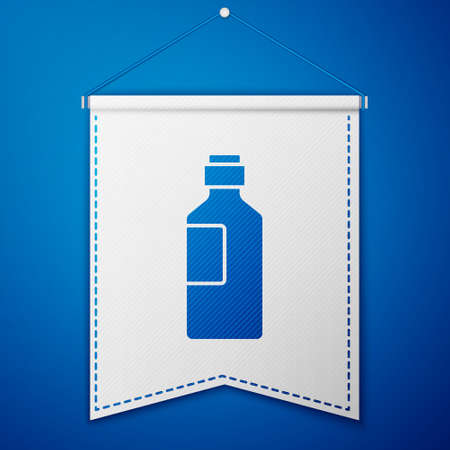 Blue Bottle of water icon isolated on blue background. Soda aqua drink sign. White pennant template. Vector Illustration