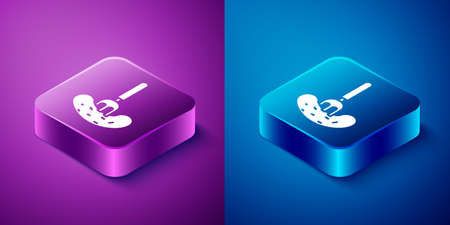 Isometric Pickled cucumber on a fork icon isolated on blue and purple background. Square button. Vector Illustration