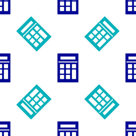 Blue Calculator icon isolated seamless pattern on white background. Accounting symbol. Business calculations mathematics education and finance. Vector Illustration