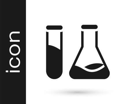 Grey Test tube and flask - chemical laboratory test icon isolated on white background. Laboratory glassware sign. Vector Illustration Ilustrace