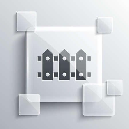 Grey Garden fence wooden icon isolated on grey background. Square glass panels. Vector Illustration Vectores