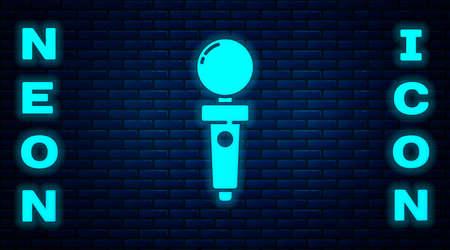 Glowing neon Joystick for arcade machine icon isolated on brick wall background. Joystick gamepad. Vector Illustration