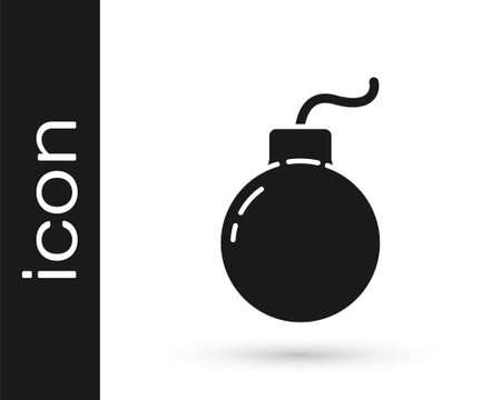Grey Bomb ready to explode icon isolated on white background. Vector Illustration