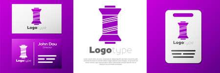 Logotype Sewing thread on spool icon isolated on white background. Yarn spool. Thread bobbin. Logo design template element. Vector Illustration