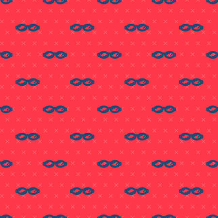 Blue line Glasses for swimming icon isolated seamless pattern on red background. Goggles sign. Diving underwater equipment. Vector Illustration