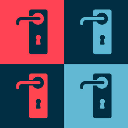 Pop art Door handle icon isolated on color background. Door lock sign. Vector Illustration