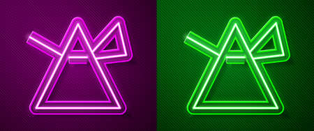 Glowing neon line Light rays in prism icon isolated on purple and green background. Ray rainbow spectrum dispersion optical effect in glass prism. Vector Illustration