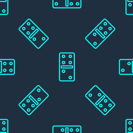 Green line Domino icon isolated seamless pattern on blue background. Vector Illustration