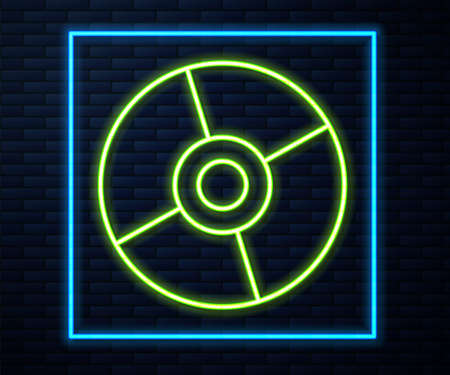 Glowing neon line CD or DVD disk icon isolated on brick wall background. Compact disc sign. Vector Illustration Illustration