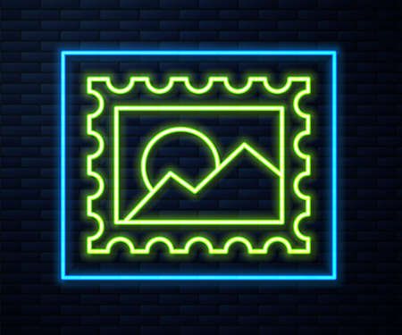 Glowing neon line Postal stamp icon isolated on brick wall background. Vector Illustration