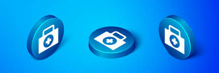 Isometric First aid kit icon isolated on blue background. Medical box with cross. Medical equipment for emergency. Healthcare concept. Blue circle button. Vector