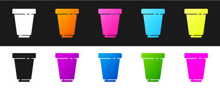 Set Water filter cartridge icon isolated on black and white background. Vector
