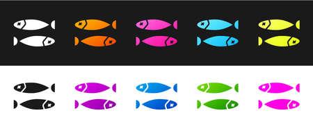 Set Dried fish icon isolated on black and white background. Vector Illustration Ilustração