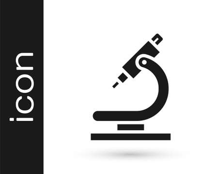 Grey Microscope icon isolated on white background. Chemistry, pharmaceutical instrument, microbiology magnifying tool. Vector