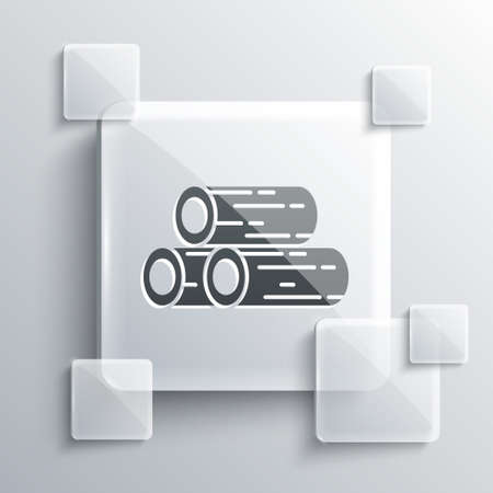 Grey Wooden logs icon isolated on grey background. Stack of firewood. Square glass panels. Vector