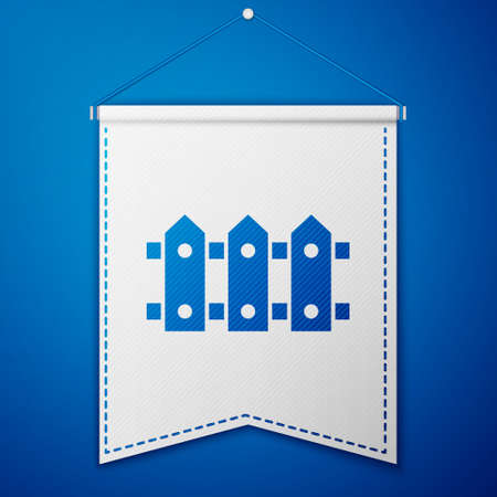 Blue Garden fence wooden icon isolated on blue background. White pennant template. Vector