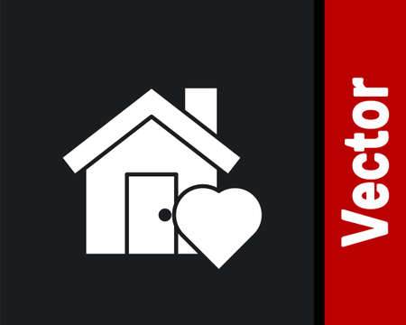 White House with heart shape icon isolated on black background. Love home symbol. Family, real estate and realty. Vector