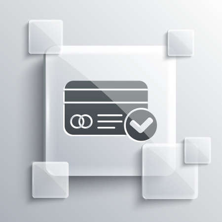 Grey Credit card icon isolated on grey background. Online payment. Cash withdrawal. Financial operations. Shopping sign. Square glass panels. Vector Illustration Vectores