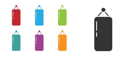 Black Punching bag icon isolated on white background. Set icons colorful. Vector Illustration