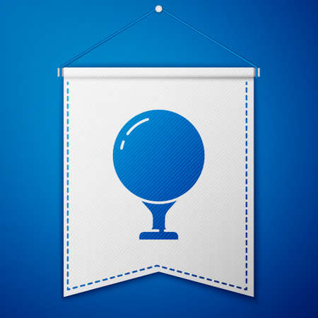 Blue Golf ball on tee icon isolated on blue background. White pennant template. Vector Illustration
