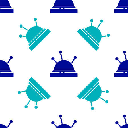 Blue Needle bed and needles icon isolated seamless pattern on white background. Handmade and sewing theme. Vector Illustration