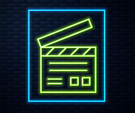 Glowing neon line Movie clapper icon isolated on brick wall background. Film clapper board. Clapperboard sign. Cinema production or media industry. Vector Illustration