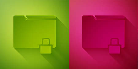 Paper cut Folder and lock icon isolated on green and pink background. Closed folder and padlock. Security, safety, protection concept. Paper art style. Vector Illustration 版權商用圖片 - 146693513