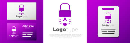 Logotype Key broke inside of padlock icon isolated on white background. Padlock sign. Security, safety, protection, privacy concept.