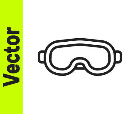 Black line Ski goggles icon isolated on white background. Extreme sport. Sport equipment. Vector