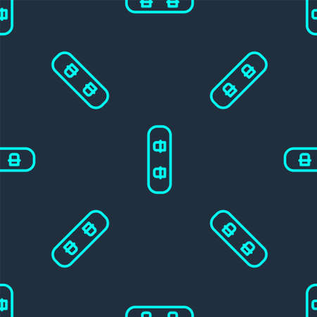 Green line Snowboard icon isolated seamless pattern on blue background. Snowboarding board icon. Extreme sport. Sport equipment. Vector