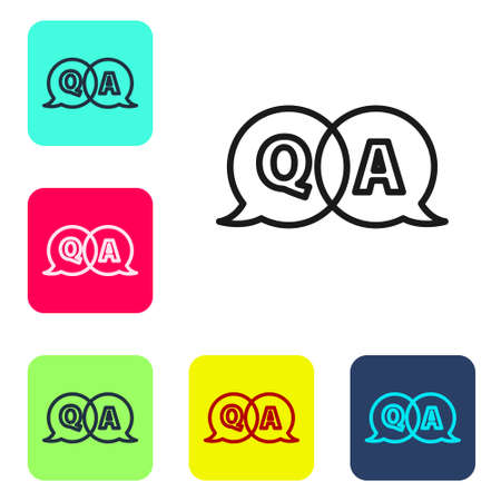 Black line Speech bubbles with Question and Answer icon isolated on white background. Q and A symbol. FAQ sign. Chat speech bubble and chart. Set icons in color square buttons. Vector