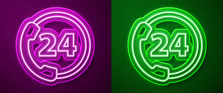 Glowing neon line Telephone 24 hours support icon isolated on purple and green background. All-day customer support call-center. Full time call services. Vector 向量圖像