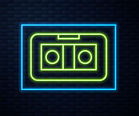 Glowing neon line VHS video cassette tape icon isolated on brick wall background. Vector