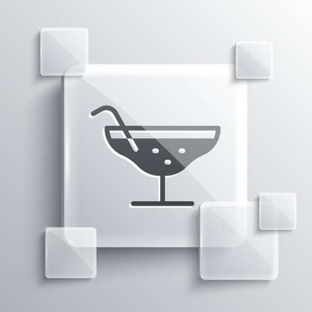 Grey Cocktail icon isolated on grey background. Square glass panels. Vector 向量圖像