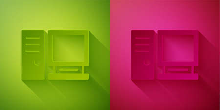 Paper cut Computer monitor icon isolated on green and pink background. PC component sign. Paper art style. Vector Illustration