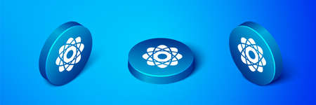 Isometric Atom icon isolated on blue background. Symbol of science, education, nuclear physics, scientific research. Blue circle button. Vector Illustration