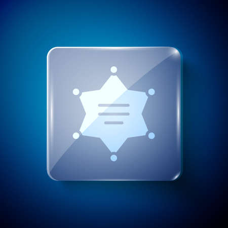 White Hexagram sheriff icon isolated on blue background. Police badge icon. Square glass panels. Vector Illustration