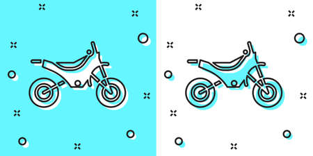 Black line Mountain bike icon isolated on green and white background. Random dynamic shapes. Vector