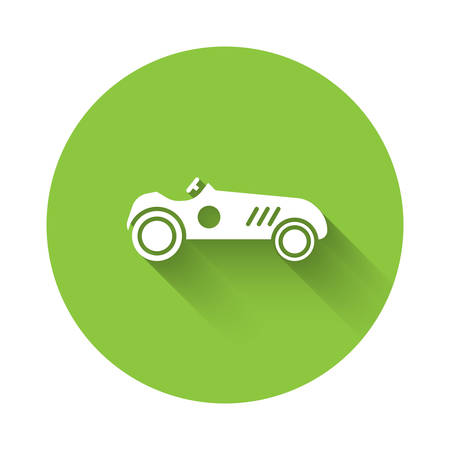 White Vintage sport racing car icon isolated with long shadow. Green circle button. Vector