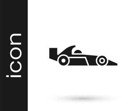 Grey  racing car icon isolated on white background. Vector