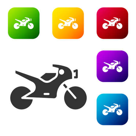Black Motorcycle icon isolated on white background. Set icons in color square buttons. Vector Illustration