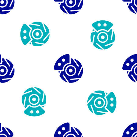 Blue Car brake disk with caliper icon isolated seamless pattern on white background. Vector