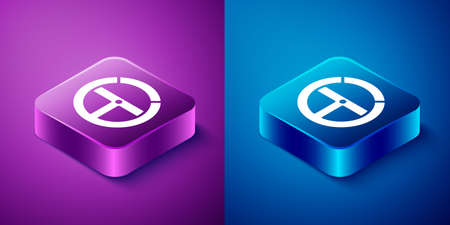 Isometric Steering wheel icon isolated on blue and purple background. Car wheel icon. Square button. Vector