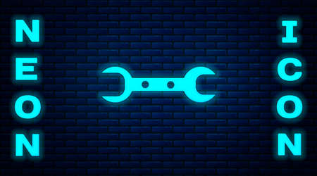 Glowing neon Wrench spanner icon isolated on brick wall background. Vector Ilustração
